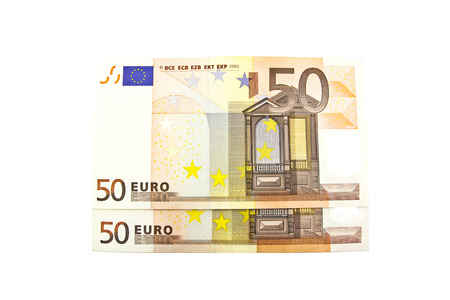 Fifty euro banknote on a white background.
