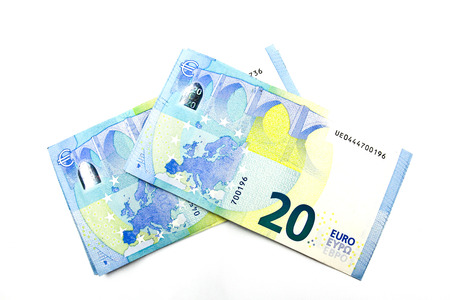 Twenty euro banknote on a white background.