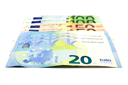 Euro banknote on a white background. Stock Photo