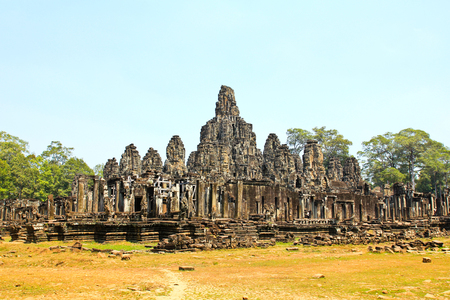 Ancient Bayon temple, Angkor Thom , the most popular tourist attraction in Siem reap, Cambodia