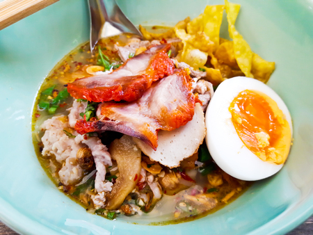 Noodle tom yum with pork and egg  Spicy thai noodle