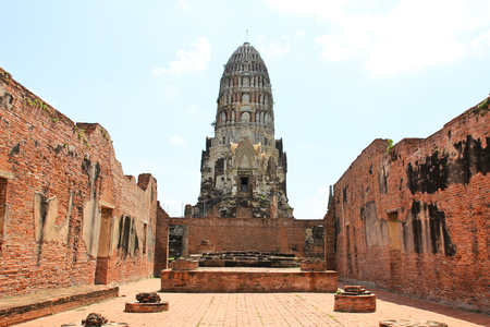Wat Ratchaburana, the ruin of a Buddhist temple in the Ayutthaya historical park, Thailand