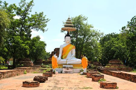 Old buddha statue in ayutthaya temple , Thailand