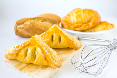 bakery products: Homemade breads or bun on white background , breakfast food Stock Photo