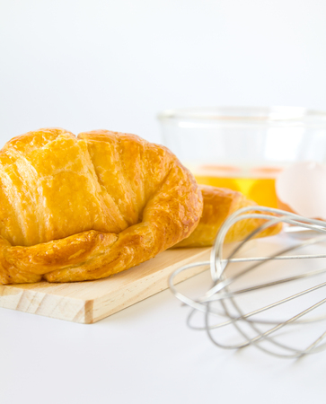 bakery products: Homemade breads or bun on white background, croissant puff , breakfast food