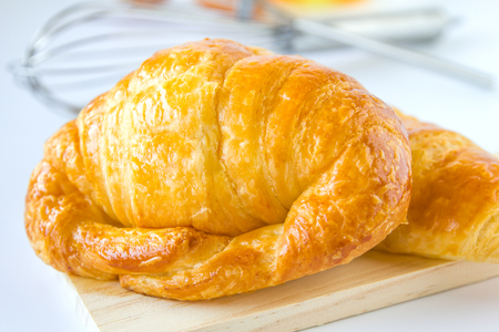 Homemade breads or bun on white background, croissant puff , breakfast food