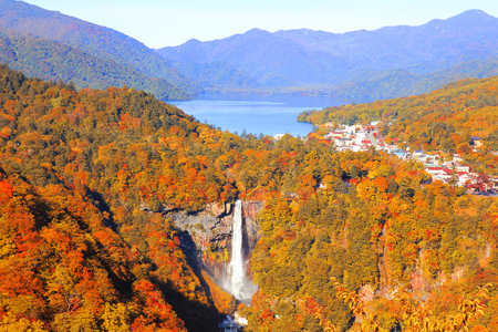 Kegon falls and Chuzenji lake in Autumn Season from Akechidaira observation deck, Nikko, Japan.