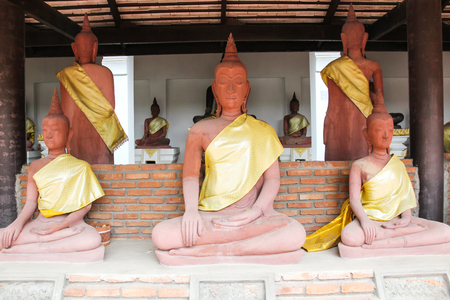 Buddha statue in Wat Phra Mahathat , Ratchaburi, Thailand.