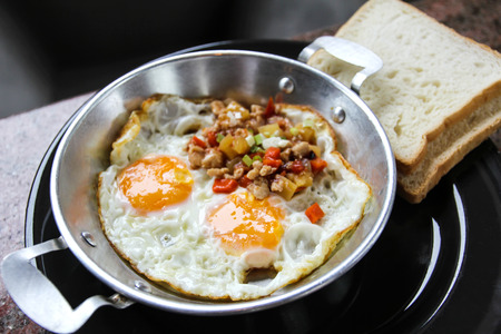 Indochina pan-fried egg with toppings in my homemade Thai style,egg pan.