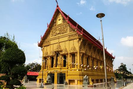 The Golden Ubosot at Wat Phra Si An , Ratchaburi, Thailand.