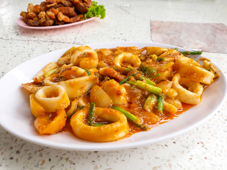 Stir-Fried Squid with Salted Eggs ,Thai Food. Stock Photo