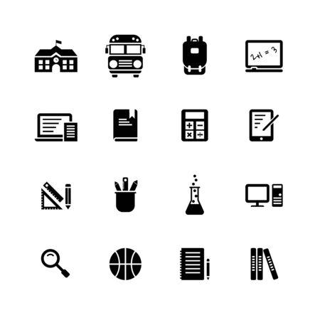 Icône solide d'éléments scolaires sur fond blanc. Vecteurs