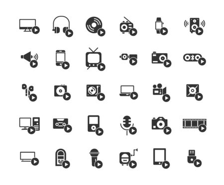 Media devices and players solid icon set.