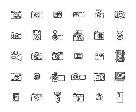 Camera Outline Icon Set, Vector Illustration.