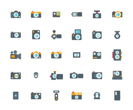 Camera Flat Icon Set, Vector Illustration.