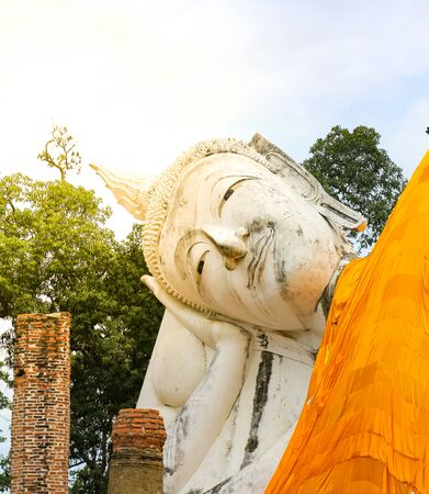Big reclining buddha statue in Wat Khun Inthapramun temple, Ang Thong, Thailand. Stock Photo