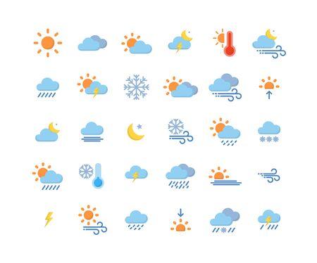 Weather flat icon set ,Vector Illustration.
