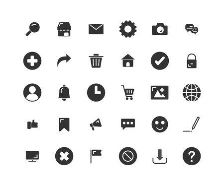 Web Interface solid icon set. Vector and Illustration. Ilustração