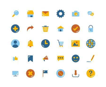 Web Interface flat icon set. Vector and Illustration. Ilustração