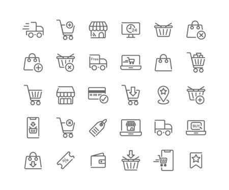 Online Shopping outline icon set. Vector and Illustration.