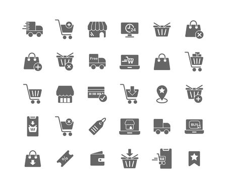 Online Shopping solid icon set. Vector and Illustration.