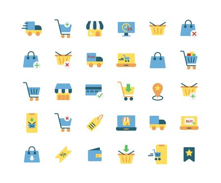 Online Shopping flat icon set. Vector and Illustration.