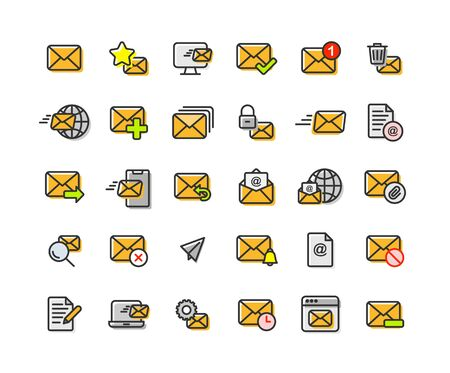 Email and Mail filled outline icon set. Vector and Illustration. Vettoriali