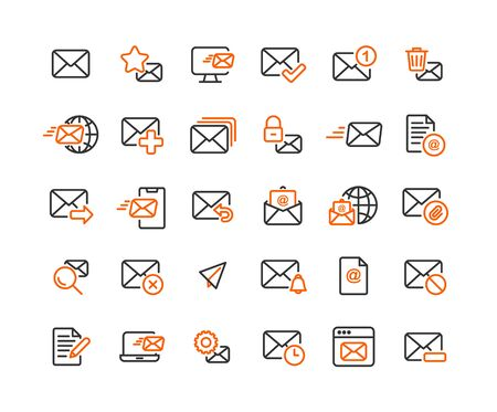 Set di icone di contorno e-mail e posta. Vettore e illustrazione.