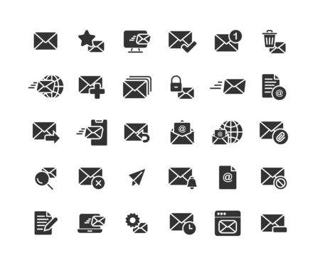 Email and Mail solid icon set. Vector and Illustration.