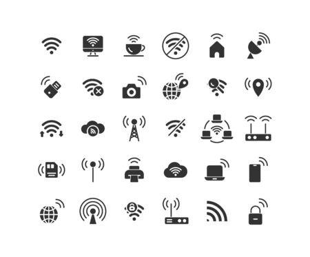 Wireless Network solid icon set. Vector and Illustration.