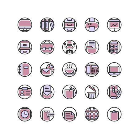 Work Office filled outline icon set. Vector and Illustration.