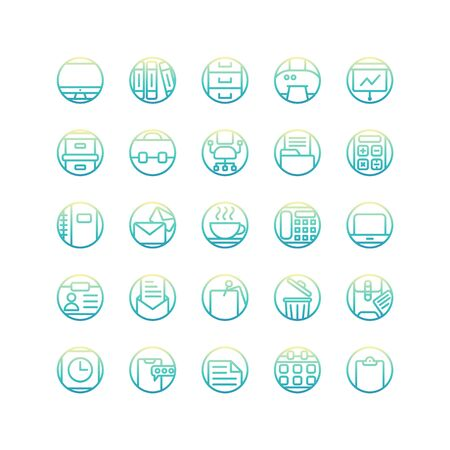 Work Office gradient icon set. Vector and Illustration.