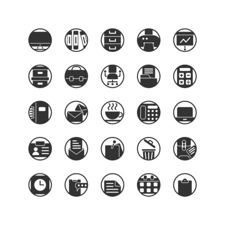 Work Office solid icon set. Vector and Illustration. 向量圖像