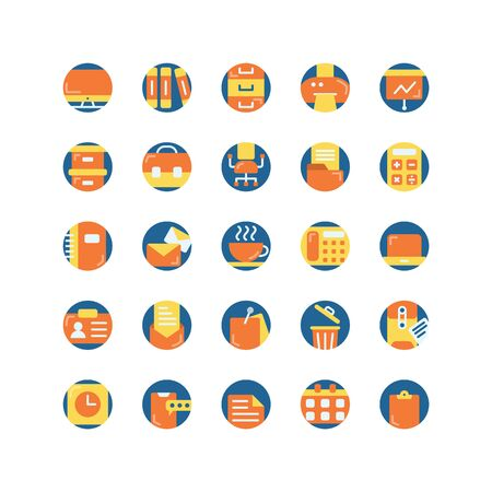 Work Office flat icon set. Vector and Illustration.