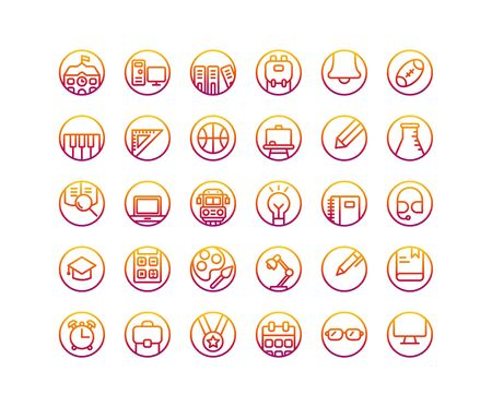 Education gradient icon set. Vector and Illustration.