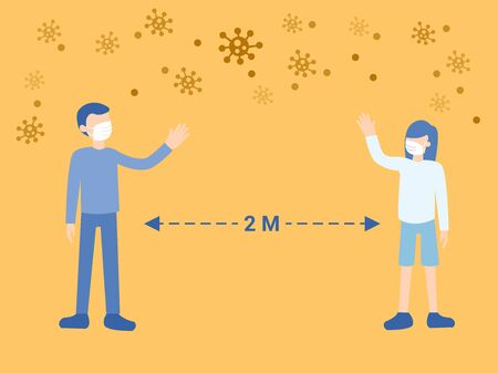 Social Distancing, Man and Woman keeping distance for infection risk and disease among viruses ,wearing protective medical mask . Illustration about Coranavirus or Covid-19.