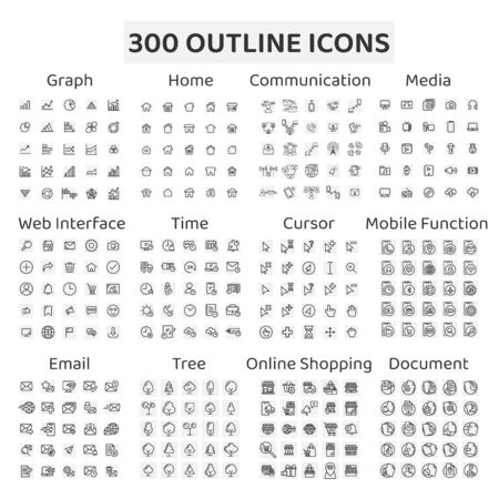 Set of 300 outline icons : graph, home, communication, media, web interface, time, cursor, mobile function, email, tree, online shopping, document