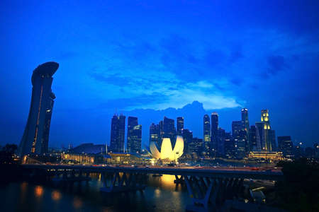 riverside landscape: Top view of singapore flyer landscape in the evening time