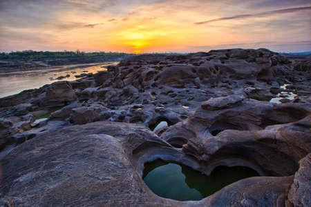 Sampanbok (3000 Hole), The Amazing of Rock in Mekong River, Ubon Ratchathani, Thailand.  Stock Photo - 13677567