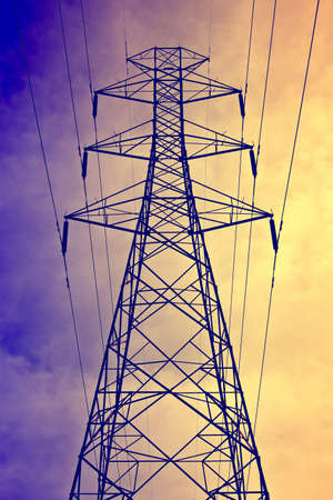 Electricity post as vintage background photo