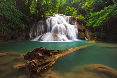 waterfall in thai national park  In the deep forest on mountain  Stock Photo
