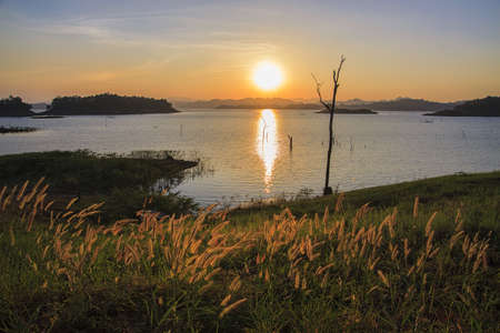 Summer landscape: beauty sunset over the river photo