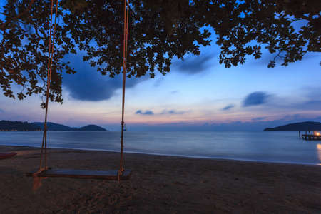 Dreamy sunset on tropical beach  Siam bay  photo
