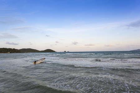 Alone boat in the sea photo