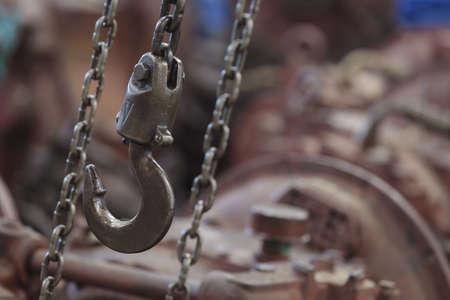 Machine hook and chain close-up