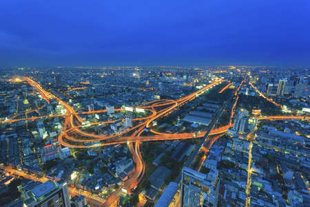 Industrial road at night in Bangkok, Thailand Editorial