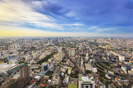 Cityscape at top view of the highest of Bangkok Stock Photo