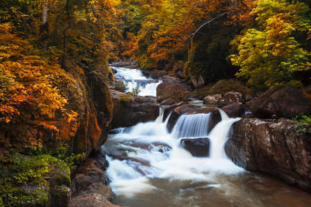 Autumn waterfall in thai national park  In the deep forest on mountain