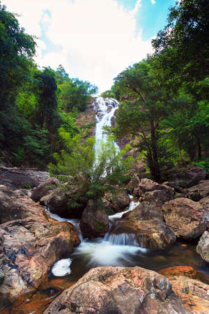 Waterfall in thai national park  In the deep forest on mountain