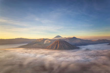 Bromo mountain view and sunrise, fog